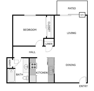 1 bed, 1 bath floor plan